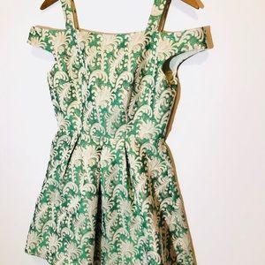 41e3f909 AKIRA Dresses | Chicago Green Pattern Evening Dress Peplum | Poshmark